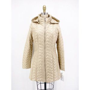 Via Spiga Zig-Zag Quilted Jacket Detachable Hood